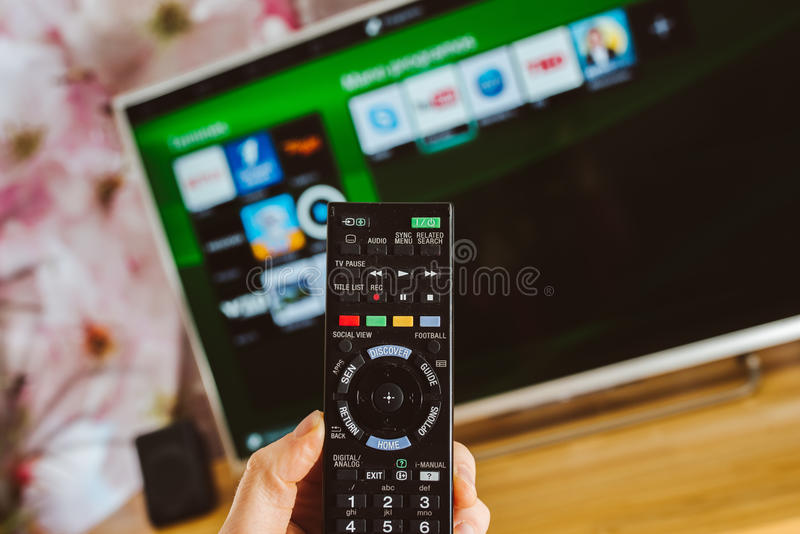 YouTube app on Sony smart TV royalty free stock images