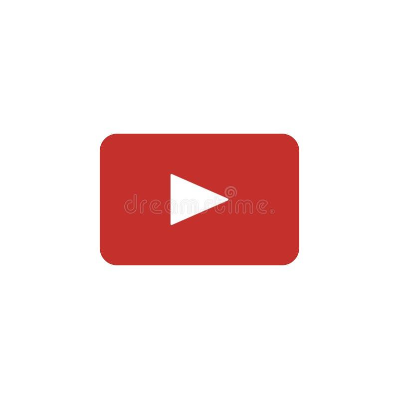 YouTube coloreó el icono Elemento del medios icono social del ejemplo de los logotipos Las muestras y los símbolos se pueden util stock de ilustración