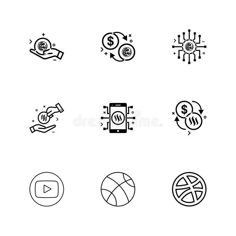 youtube dribbling, basket, samband, nxs som är crypto, valuta vektor illustrationer