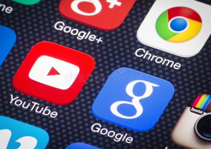Youtube google icons. HILVERSUM, NETHERLANDS - FEBRUARY 03, 2014: Google is an American multinational corporation specializing in Internet-related services and stock image