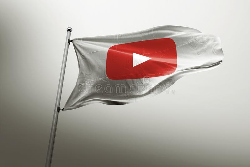 Youtube photorealistic flag editorial stock illustration