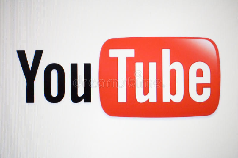 Youtube logo. Macro image of monitor with youtube logo on white background. www. youtube. com