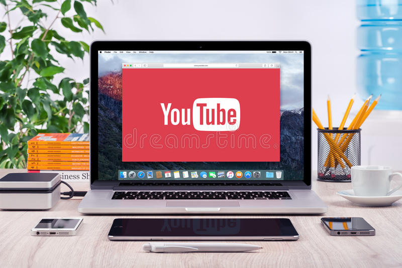 YouTube logo on the Apple MacBook Pro display stock photo