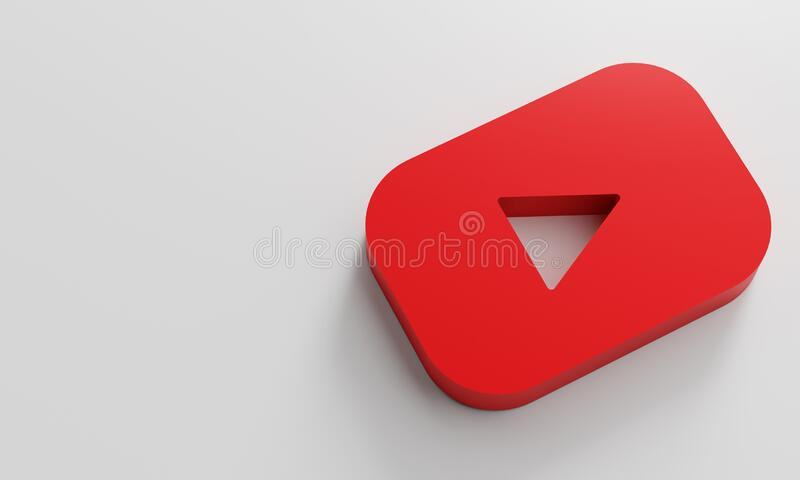 Youtube Logo Minimal Simple Design Template. Copy Space 3D stock images