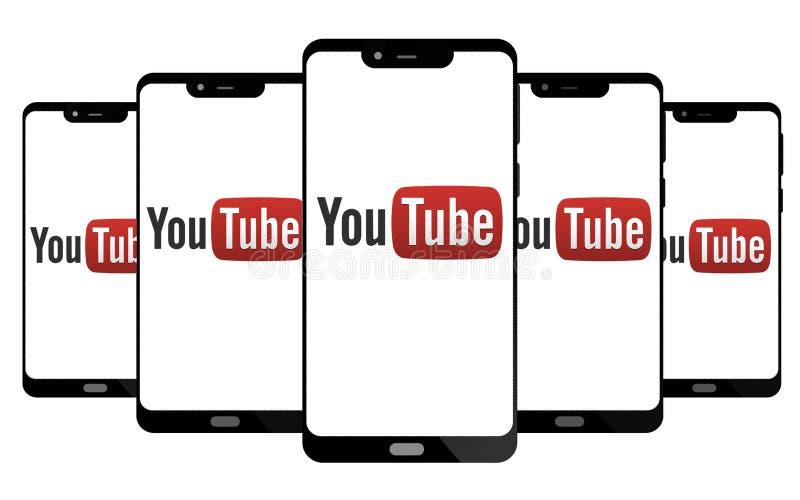 Youtube logo na parawanowym mądrze telefonie royalty ilustracja