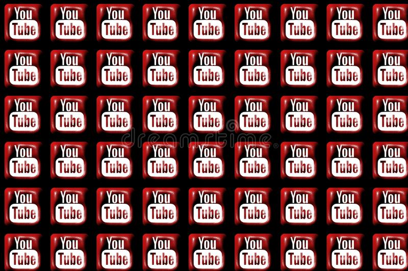 Youtube Social Media Icons In The Plastic Material