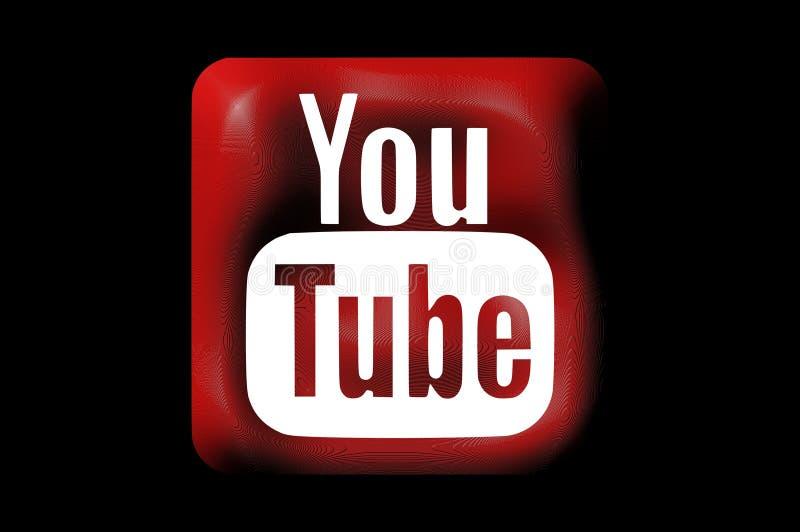 Youtube-Social Media-Ikonen im Plastik lizenzfreie abbildung