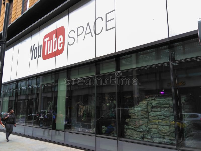 Youtube Space in London, exterior front facade of building. The exterior of the Youtube Space office in London, England, on Pancras Road near Kings Cross stock photography