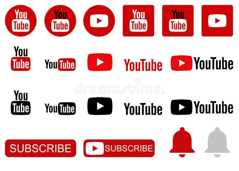 Youtube symbolssamling royaltyfri illustrationer
