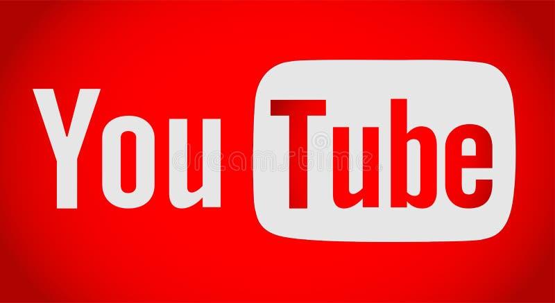Youtube tekst z logo ikoną ilustracja wektor