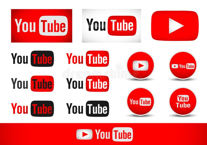 Youtube text with logo icon set vector element design vector on white background vector illustration