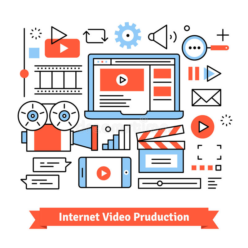 Youtuber video production studio stock illustration
