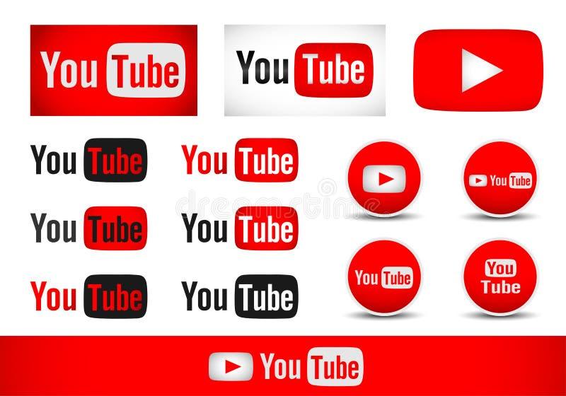 Youtubetekst met vector van het het elementenontwerp van het embleempictogram de vastgestelde vector op witte achtergrond vector illustratie