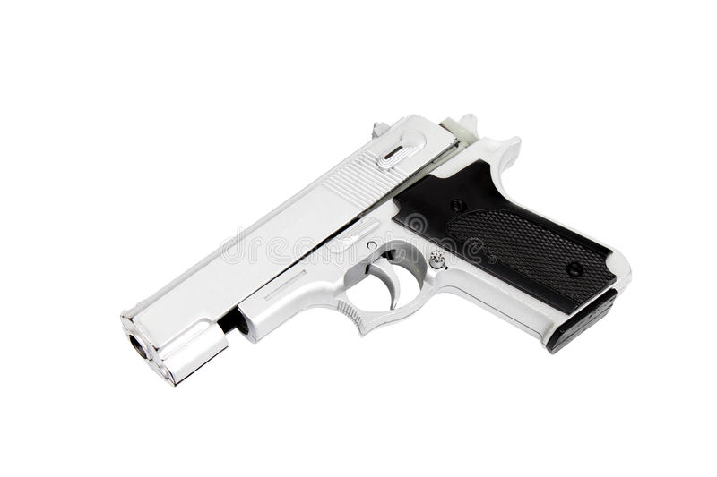 Yoy gun isolated. Isolated image of a toy gun - Black and white stock photo
