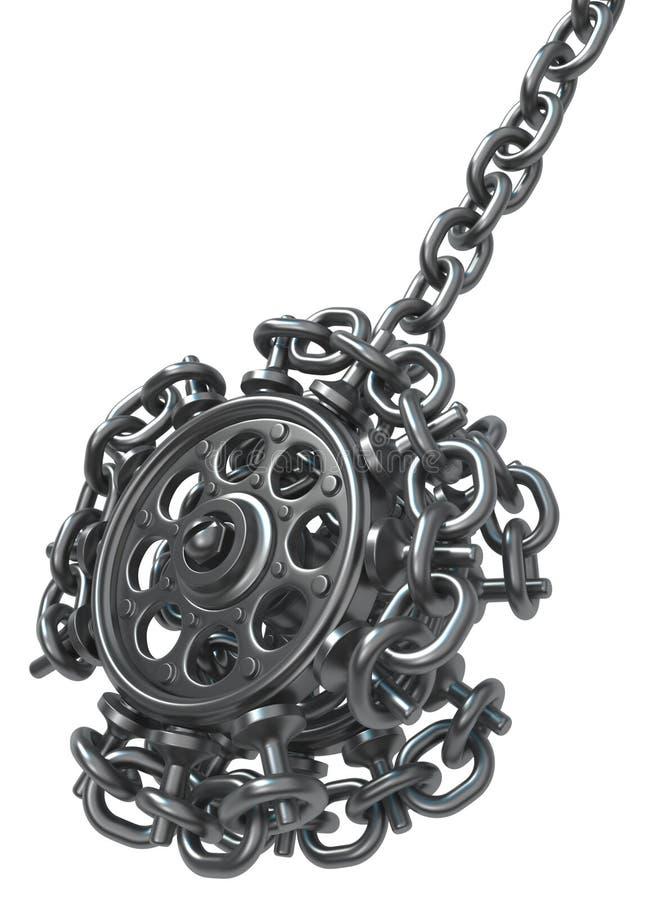Yoyo de cadena de la rueda del metal stock de ilustración