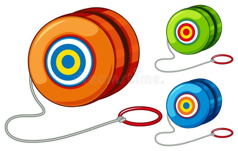 Yoyo en tres diversos colores stock de ilustración
