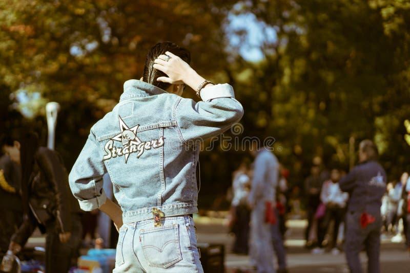 Yoyogi`s rockabillies dancing in the park on a Sunday royalty free stock photos