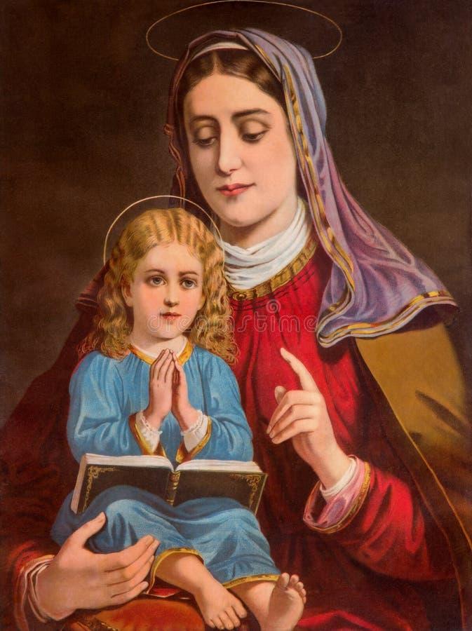 Ypical katolicki wizerunek st Ann z małym Mary od Sistani drukującego w Niemcy od końcówki 19 (w mój swój dom) cent obraz royalty free
