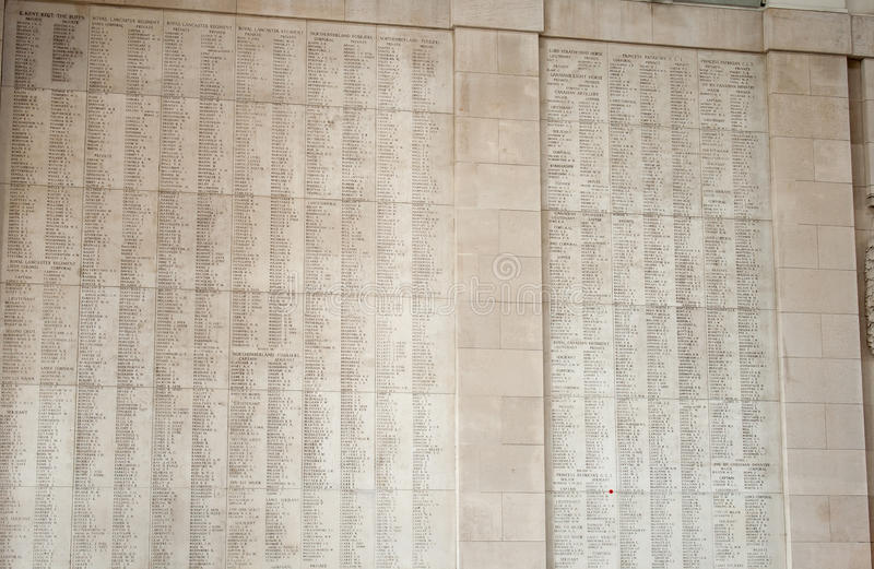 Ypres Menin gate memorial showing names of falling soldiers stock photography