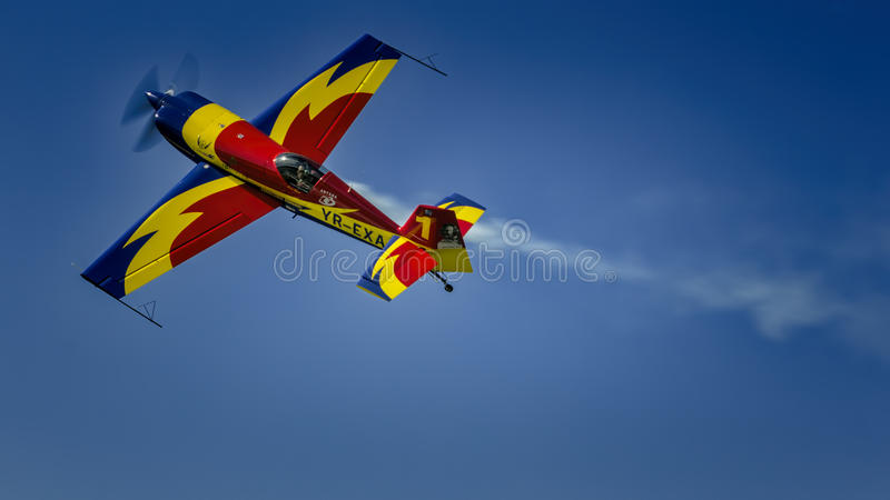 YR-EXA. At AeroNautic Show 2013 - Morii Lake, Bucharest during acrobatics. This photo is for Editorial use and not for Commercial purposes, please read stock photos