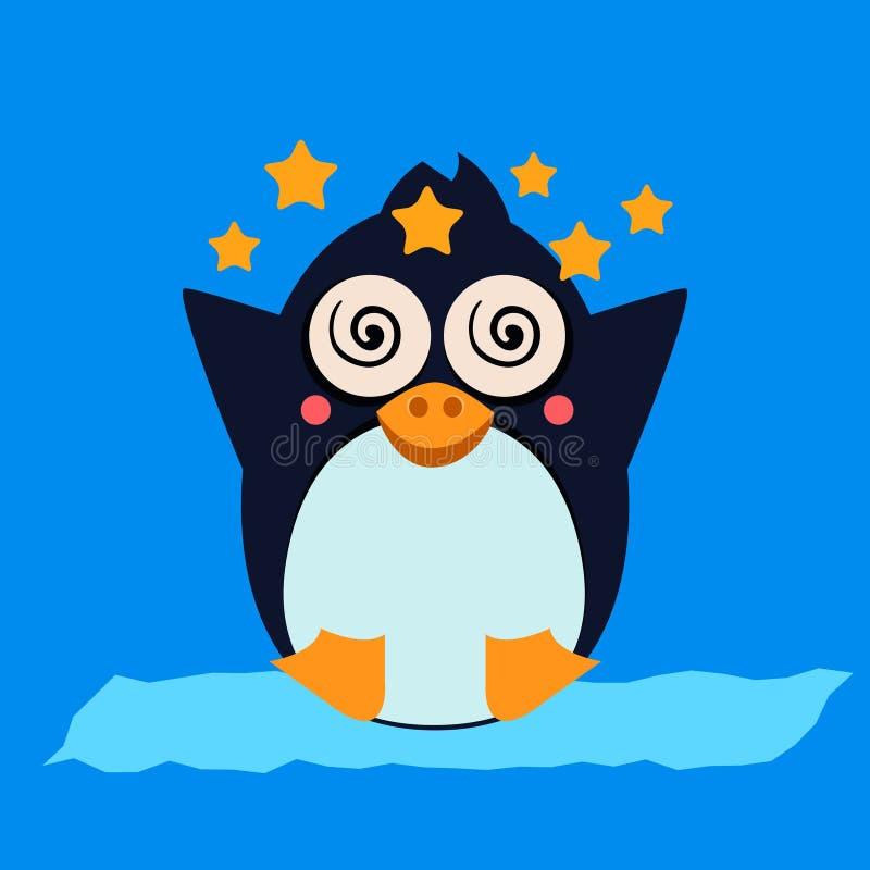 Yr pingvinkänsla också vektor för coreldrawillustration royaltyfri illustrationer