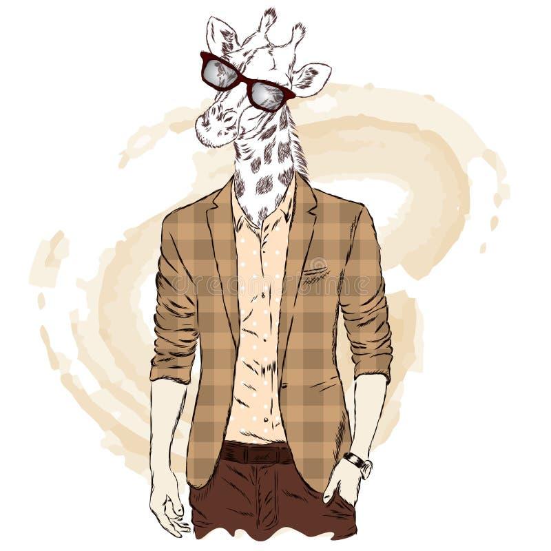 Żyrafa - modniś w kurtce i okularach przeciwsłonecznych również zwrócić corel ilustracji wektora Druk na pocztówce, plakacie lub  royalty ilustracja