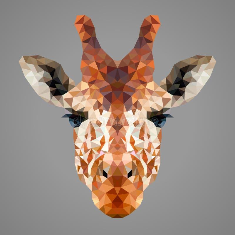 Żyrafa niski poli- portret royalty ilustracja