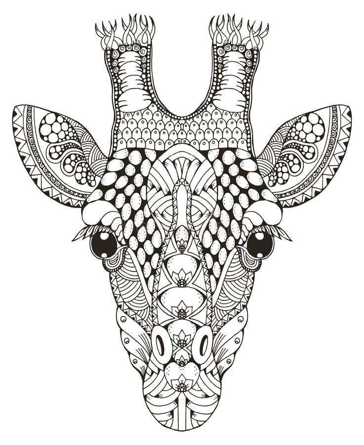 Żyrafy kierowniczy zentangle stylizował, wektorowa ilustracja, freehand p royalty ilustracja