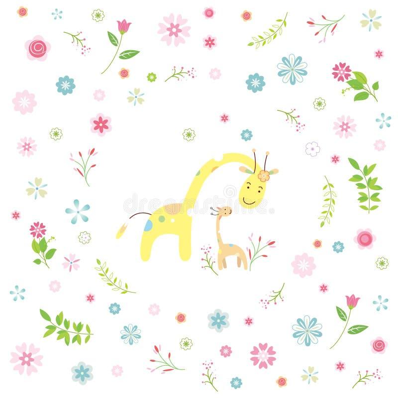 Download Żyrafy Kreskówki Kartka Z Pozdrowieniami Ilustracja Wektor - Ilustracja złożonej z urodziny, gałąź: 53777132