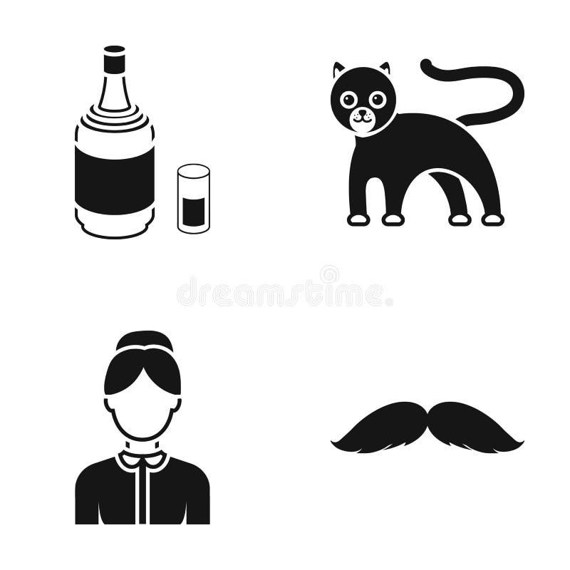 Yrke, alkohol och eller rengöringsduksymbol i svart stil djur barberaresymboler i uppsättningsamling stock illustrationer