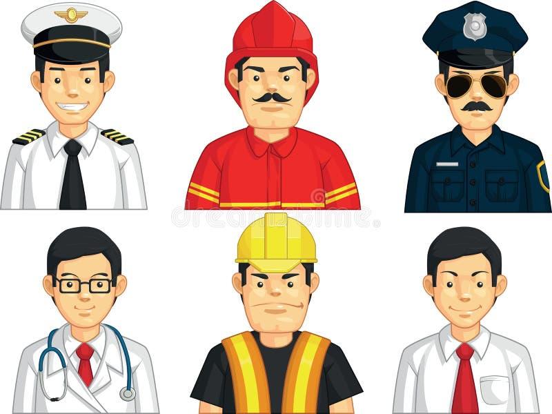 Yrke - byggnadsarbetare, doktor, brandkämpe, pilot, polisen, kontorsarbetare stock illustrationer