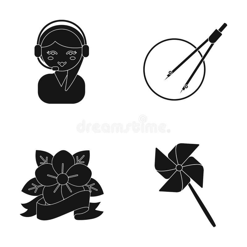 Yrke, design, annonsering och annan rengöringsduksymbol i svart stil matta, klibba, underhållning, symboler i uppsättning stock illustrationer