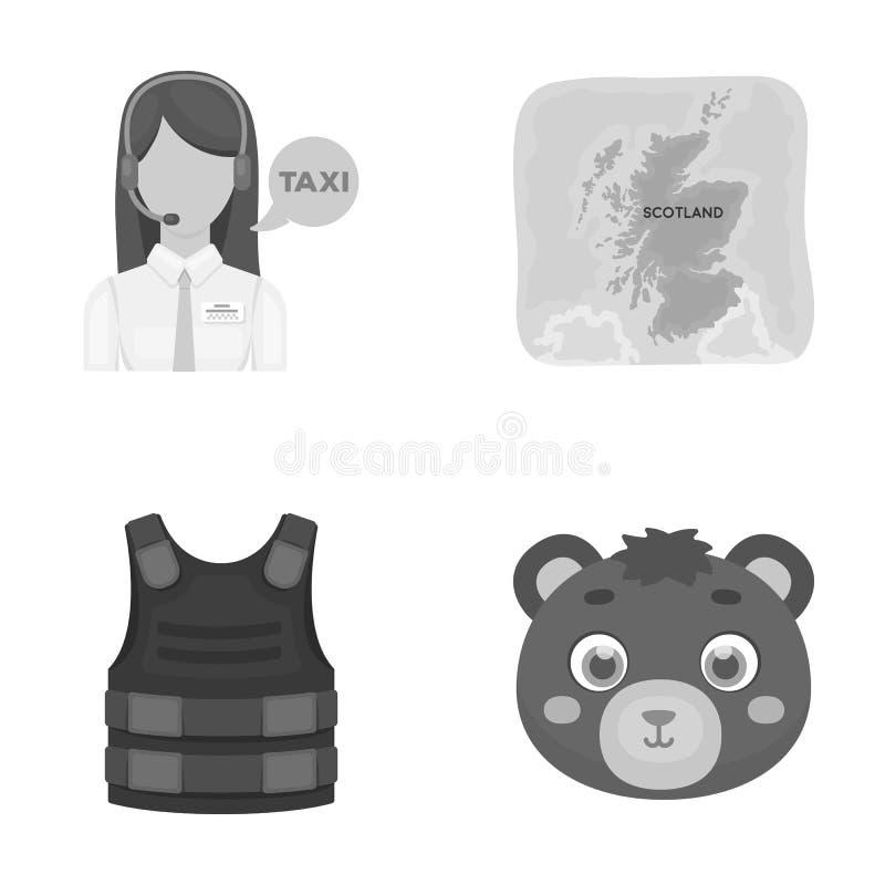 Yrke, lopp, turism och annan rengöringsduksymbol i monokrom stil djur leksak, brunt, symboler i uppsättningsamling stock illustrationer