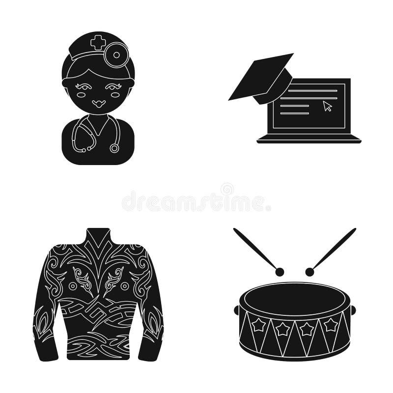 Yrke, medicin, utbildning och annan rengöringsduksymbol i svart stil instrument musikal, konsertsymboler i uppsättningsamling vektor illustrationer