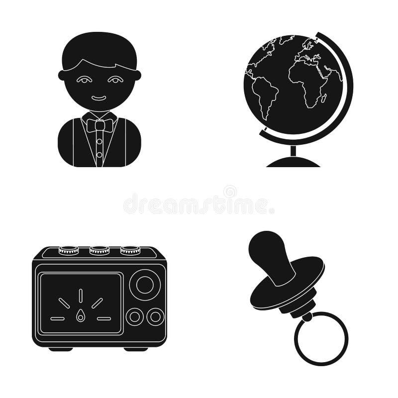 Yrke, natur, framsteg och annan rengöringsduksymbol i svart stil nippel leksak, bot, symboler i uppsättningsamling vektor illustrationer