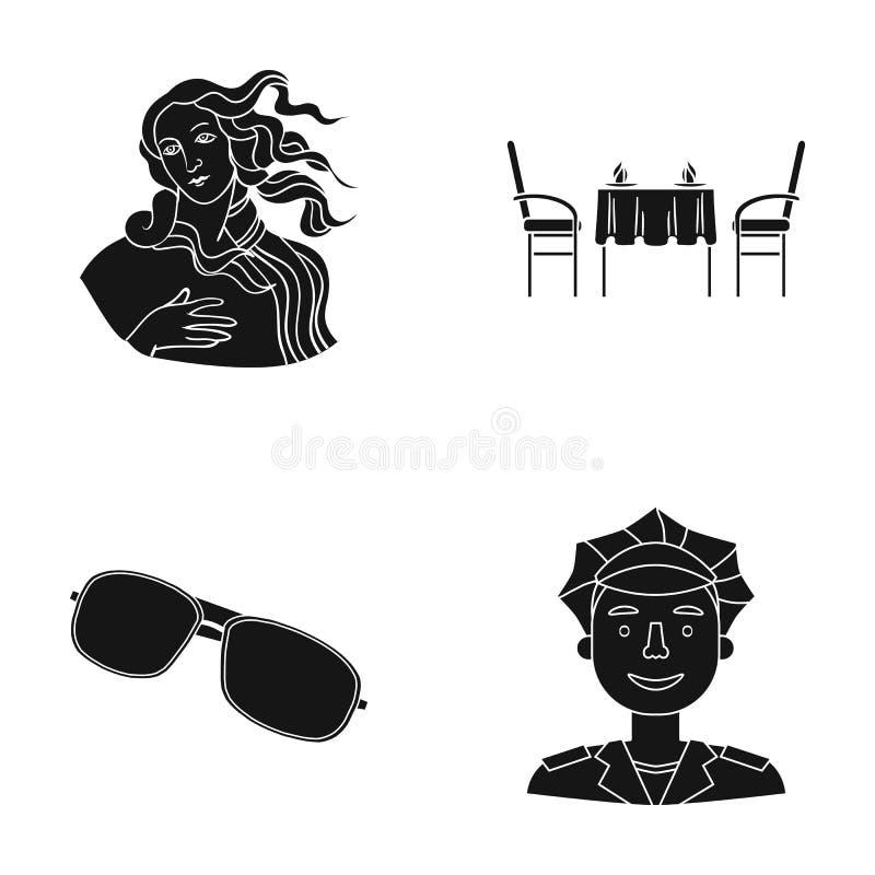 Yrke, rekreation, museum och annan rengöringsduksymbol i svart stil tillbehör man, polis, symboler i uppsättningsamling stock illustrationer