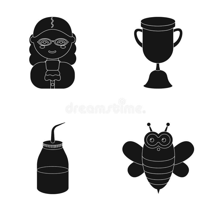 Yrke, tillbehör, utrustning och annan rengöringsduksymbol i svart stil användbart leksak, honung, symboler i uppsättningsamling stock illustrationer