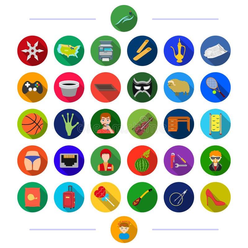 Yrke, turism, sport och annan rengöringsduksymbol i plan stil medicin möblemang, teknologisymboler i uppsättningsamling royaltyfri illustrationer