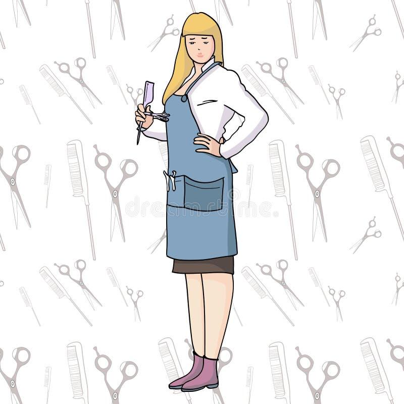 Yrkefrisör-stylist vektor illustrationer