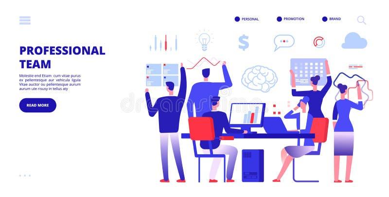Yrkelag Anställda arbetar i regeringsställning Baner för företagsaffärsteamwork Multitasking marknadsföra vektorbaner royaltyfri illustrationer