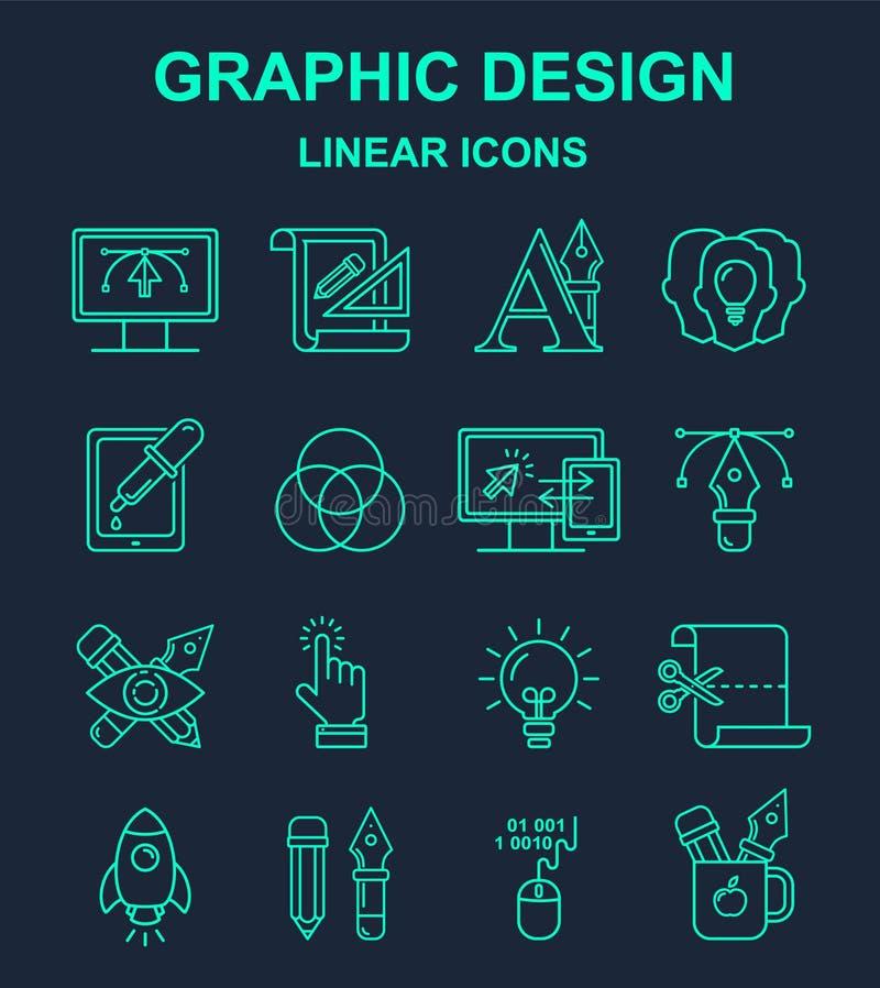 Yrkemodell för grafisk formgivare med linjära symboler för turkos royaltyfri illustrationer