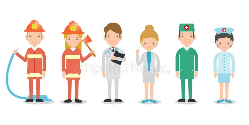 Yrken för folk, uppsättning av gulliga yrken för personen som isoleras på vit bakgrund, brandmän, doktor, sjuksköterska, sjuksköt vektor illustrationer