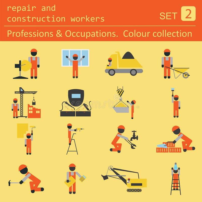 Yrken och ockupationer färgad symbolsuppsättning Reparation och constr royaltyfri illustrationer