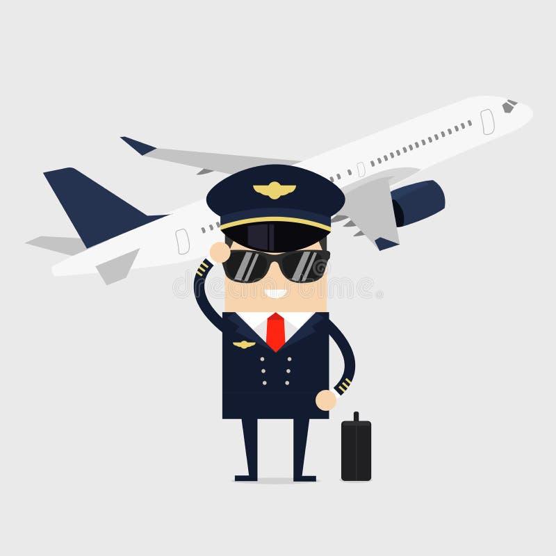 Yrkepilot av flygplan Man i likformign som framme står av nivån stock illustrationer