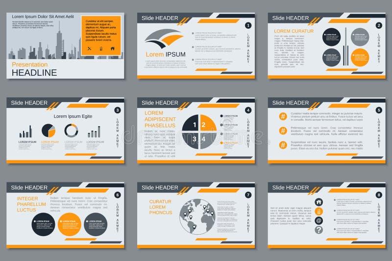 Yrkesmässig affärspresentation, mall för vektor för glidbanashow stock illustrationer