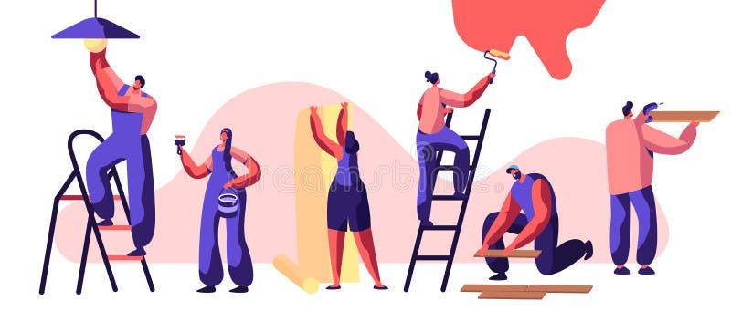 Yrkesmässig arbetare för reparationsservice Kvinna på rullen för stegemålarfärgvägg i hand Människan limmar tapeten Mannen lägger stock illustrationer