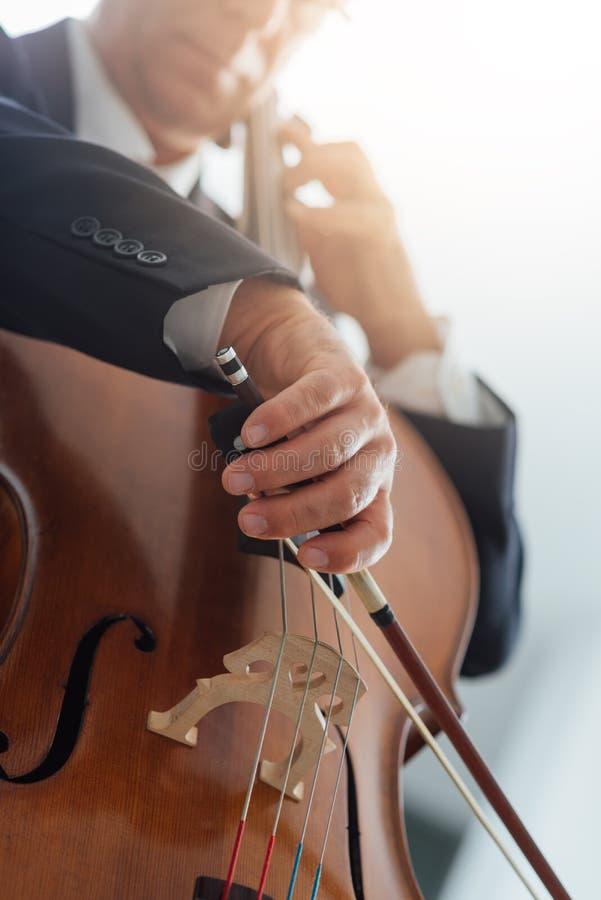 Yrkesmässig cellist som spelar hans instrument royaltyfria foton