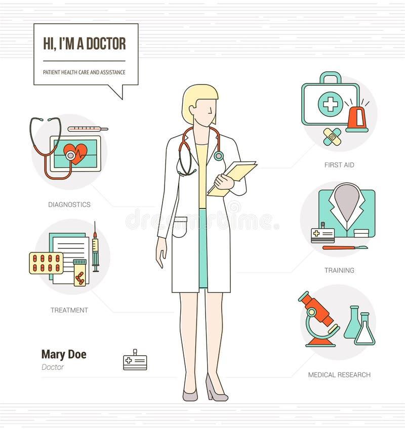 Yrkesmässig doktor stock illustrationer