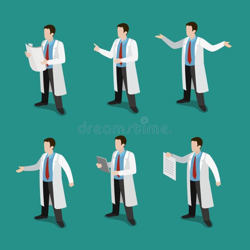 Yrkesmässig doktor för medicin på den isometriska vektorn för arbetslägenhet 3d stock illustrationer