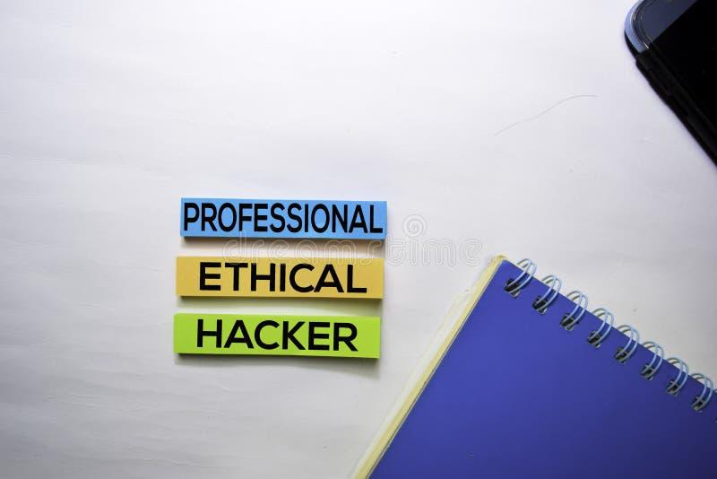 Yrkesmässig etisk en hackertext beskådar överst isolerat på vit bakgrund royaltyfri foto